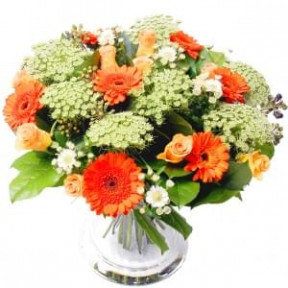 Flowers Abroad Orange - White (Small)