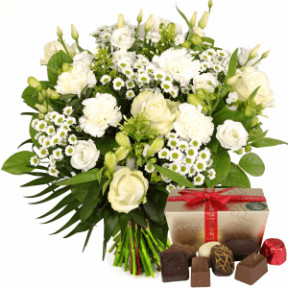 Father'S Day White Flowers Incl. Leonidas Chocolates (Medium)