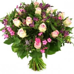 Pink Roses And 3 Types Of Flowers (Medium)