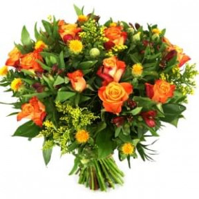 Orange Roses And 3 Types Of Flowers (Medium)