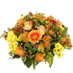 Biedermeier Flower Arrangement Orange Yellow About 25 Cm (Medium)