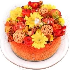 Yellow orange flowers cake (Small)