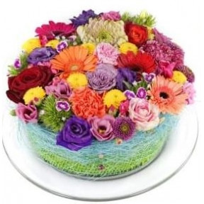 Disco colorful flowers cake (Small)