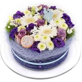 Birth boy flower cake (Small)