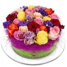 Mixed roses flower cake (Small)