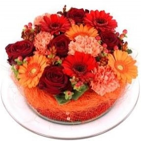 Orange red flowers cake (Small)