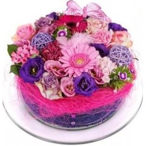 send pink purple flowers cake (Small)
