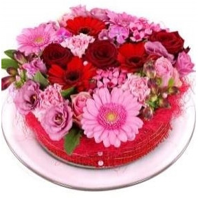 Pink red flowers cake (Small)