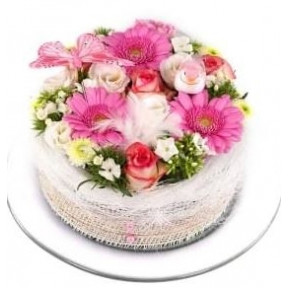 Pink white pastel flowers cake (Small)