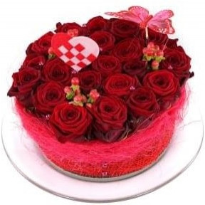 Red roses flower cake (Small)