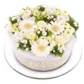 White green flowers cake (Small)