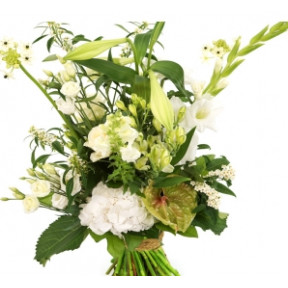 Picked bouquet of white high - low fit