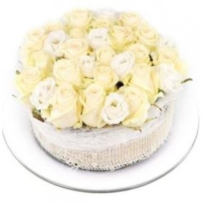 White roses flower cake (Small)