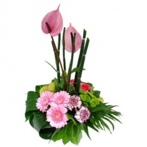 Flower Arrangement Pink And Lilac Flowers