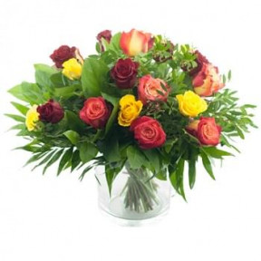 Bouquet Of Red. Yellow And Orange Roses (Medium)