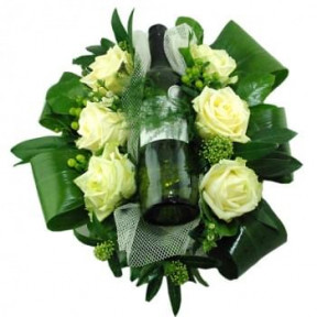 Flower Arrangement With Bottle White Wine