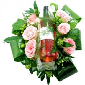Flower Arrangement With Bottle Rose Wine