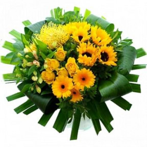 Modern Grouped Bouquet Of Yellow Flowers (Medium)