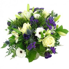 Bouquet Of Blue/ Purple And White Flowers (Standard)