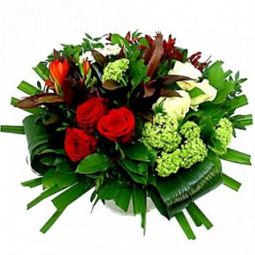 Grouped Bouquet Of Red And White Flowers (Standard)