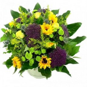 Bouquet Of Yellow And Blue Flowers (Standard)