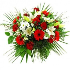 Bouquet Of Red And White Flowers (Standard)