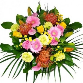 Bouquet Of Orange Pink And Yellow Flowers (Medium)