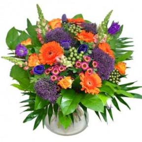 Bouquet Of Orange And Purple Flowers (Standard)