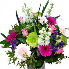 Bouquet Of Pink. White And Purple Flowers (Medium)