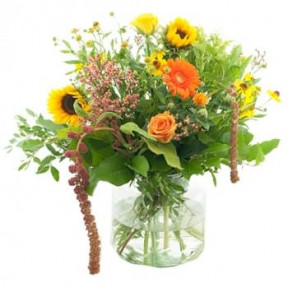 Orange/ Yellow Bouquet With Vase (Medium)