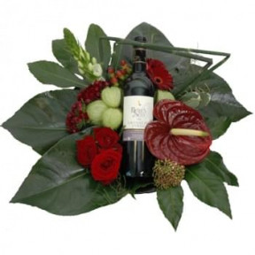 Luxury Flower Arrangement With Bottle Of Winee
