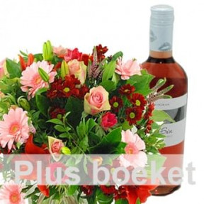 Bouquet + Bottle Of Wine (Large)