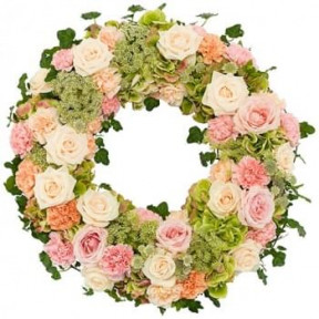 Funeral Wreath Ajour Pink - White