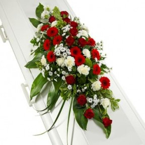Funeral Arrangement Of Red And White Flowers (Standard)