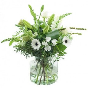 White Bouquet With Vase (Standard)