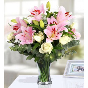 Cheery Bouquet (24 White Roses  And 18 Pink Lilies)