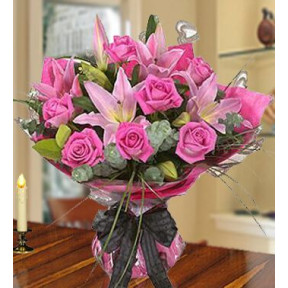 My Desire (20 Pink Lilies And 16 Pink Roses.)