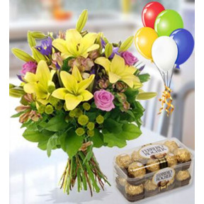 Flowers, Chocolates And Balloons