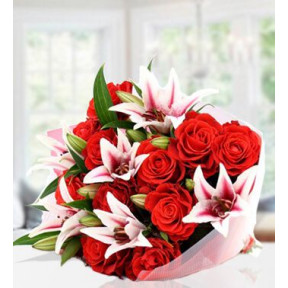 Lilies And Roses (30 Pink Lilies And 20 Red Roses)