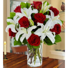 Red Ruby Bouquet (20 White Lilies And 16 Red Roses)