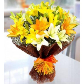 Perfect Lilies (3 White , 3 Orange And  3 Yellow Lilies)
