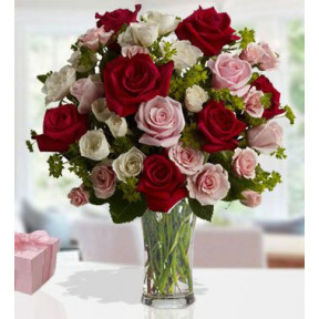 Cupids Love (20 Red ,20 Pink And 20 White Roses)