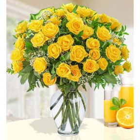 Sunny Day Pitcher (36 Yellow Roses)