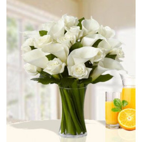 Divinely Gift (24 White Roses  And 20 Calla Lilies)
