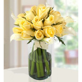 Splashed Sea (36 Yellow Roses  And 20 Calla Lilies)
