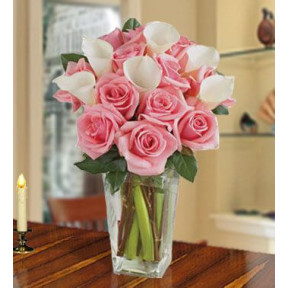 Fall In Love (12 Calla Lilies And 24 Pink Roses)