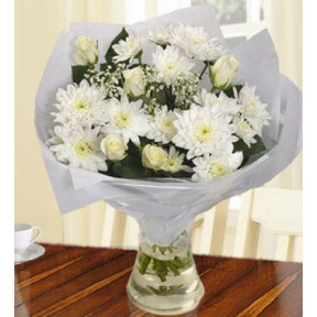 Pure White Bouquet (40 White Chrysanthemums , 12 White Roses)