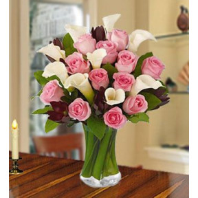 Ideal Moment (24 Pink Roses , 20 White calla Lilies)