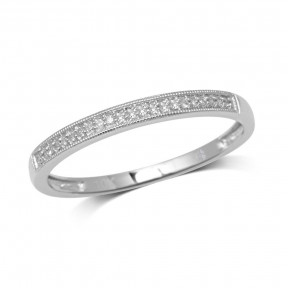 10K White Gold 0.1 Ct.Tw. Diamond Wedding Band Ring