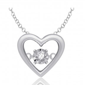 Sterling Silver 0.05 Ct.Tw. Moving Diamond Heart Pendant